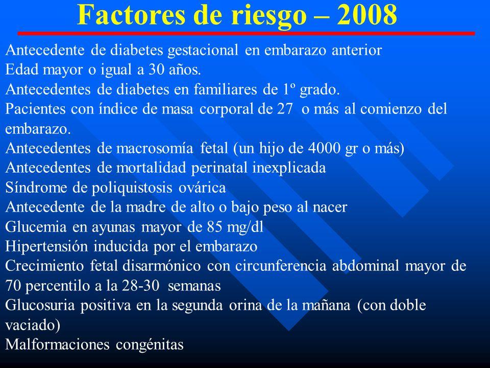 Factores de riesgo – 2008 Antecedente de diabetes gestacional en embarazo anterior. Edad mayor o igual a 30 años.