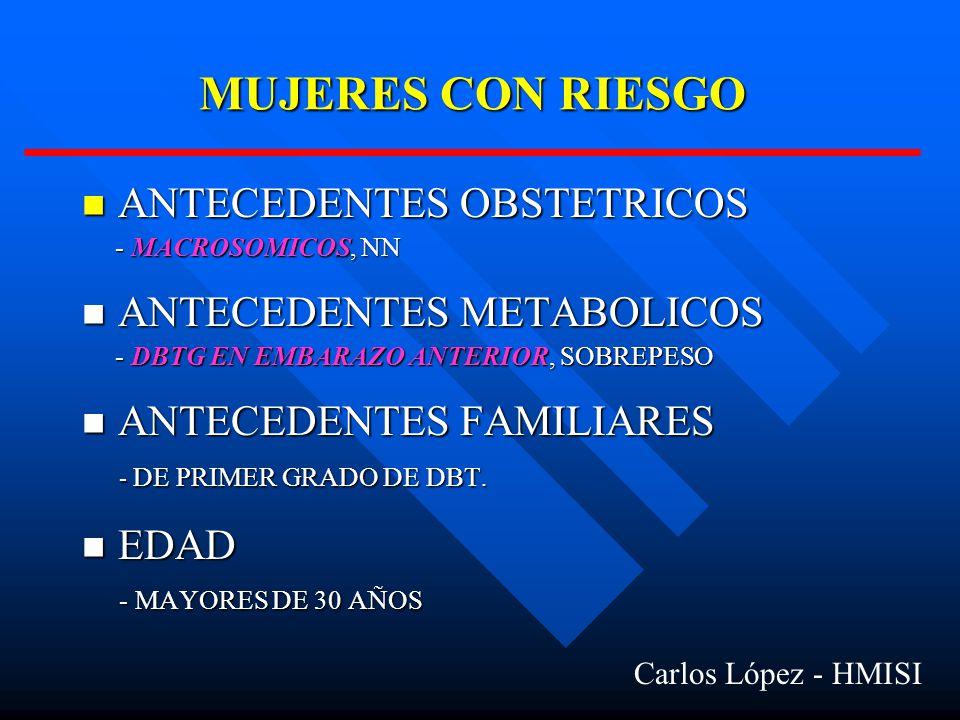 MUJERES CON RIESGO ANTECEDENTES OBSTETRICOS ANTECEDENTES METABOLICOS