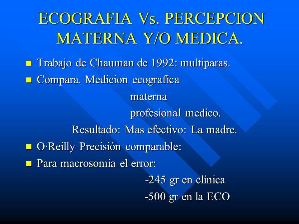 ECOGRAFIA Vs. PERCEPCION MATERNA Y/O MEDICA.