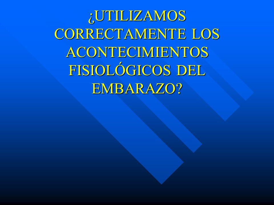 ¿UTILIZAMOS CORRECTAMENTE LOS ACONTECIMIENTOS FISIOLÓGICOS DEL EMBARAZO
