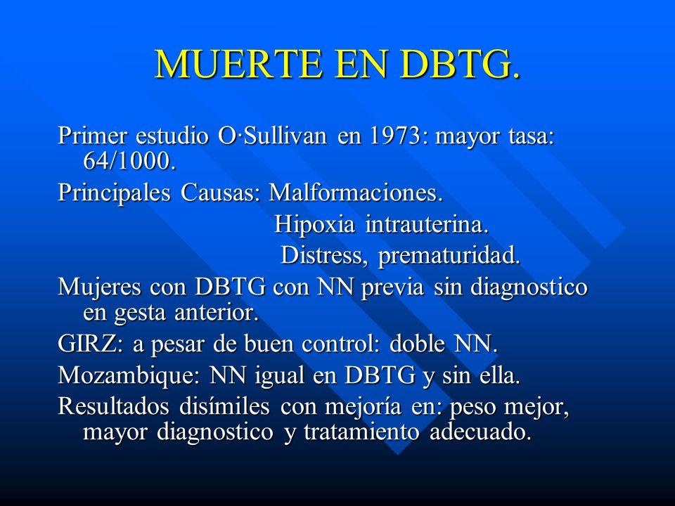 MUERTE EN DBTG. Primer estudio O·Sullivan en 1973: mayor tasa: 64/1000. Principales Causas: Malformaciones.