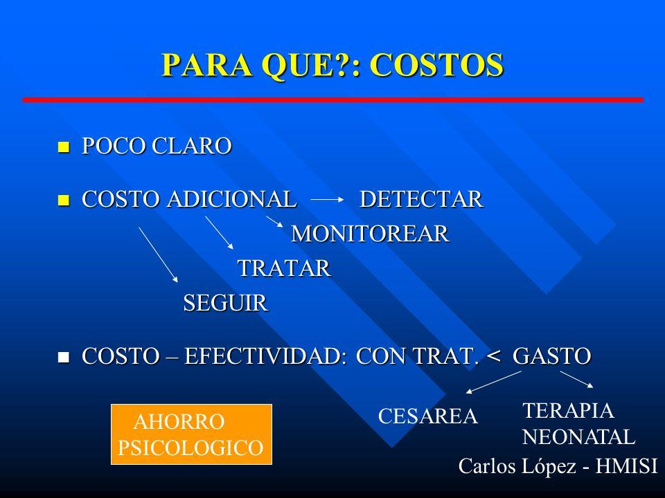 PARA QUE : COSTOS POCO CLARO COSTO ADICIONAL DETECTAR MONITOREAR