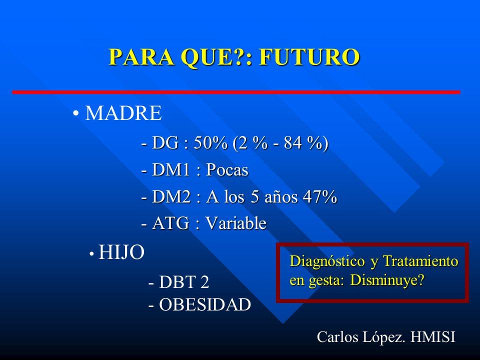 PARA QUE : FUTURO MADRE - DG : 50% (2 % - 84 %) - DM1 : Pocas