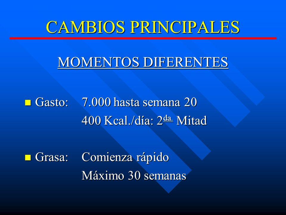 CAMBIOS PRINCIPALES MOMENTOS DIFERENTES Gasto: 7.000 hasta semana 20