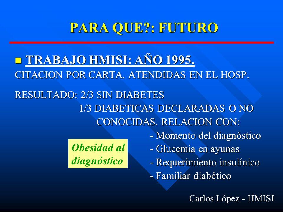 PARA QUE : FUTURO TRABAJO HMISI: AÑO 1995. Obesidad al diagnóstico