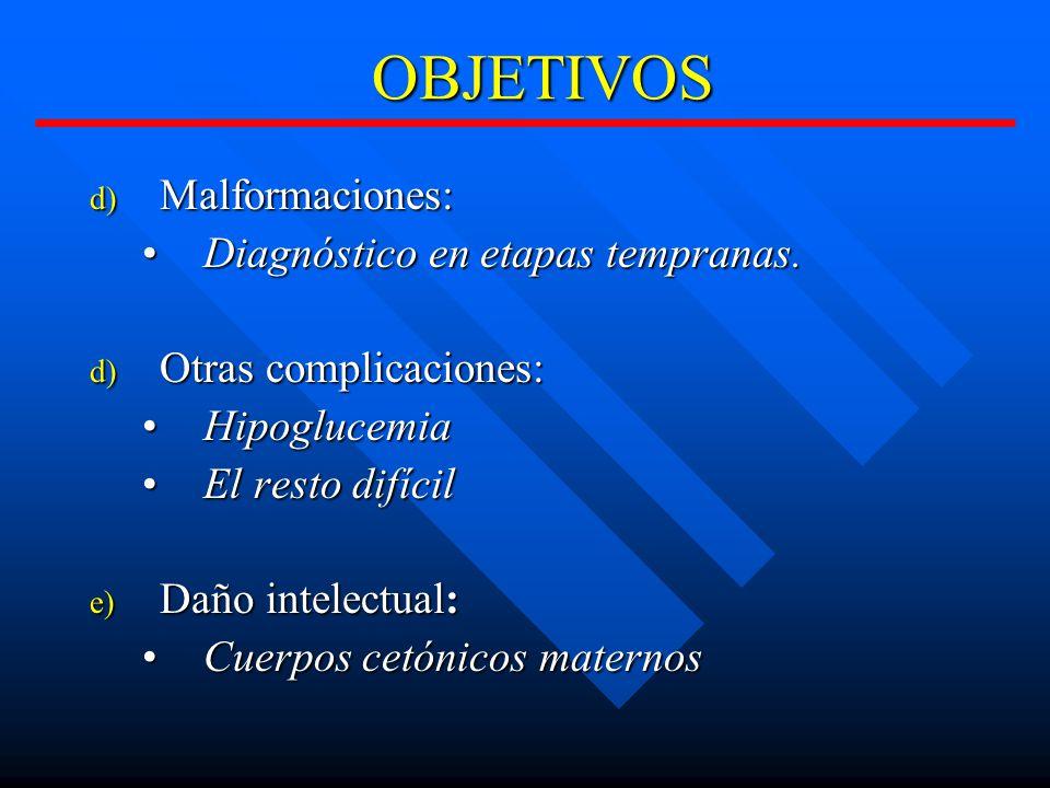 OBJETIVOS Malformaciones: Diagnóstico en etapas tempranas.