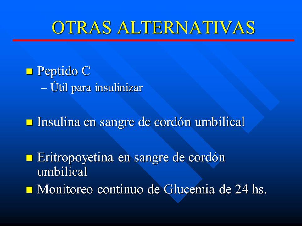 OTRAS ALTERNATIVAS Peptido C Insulina en sangre de cordón umbilical