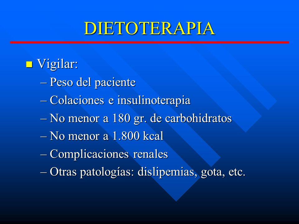DIETOTERAPIA Vigilar: Peso del paciente Colaciones e insulinoterapia
