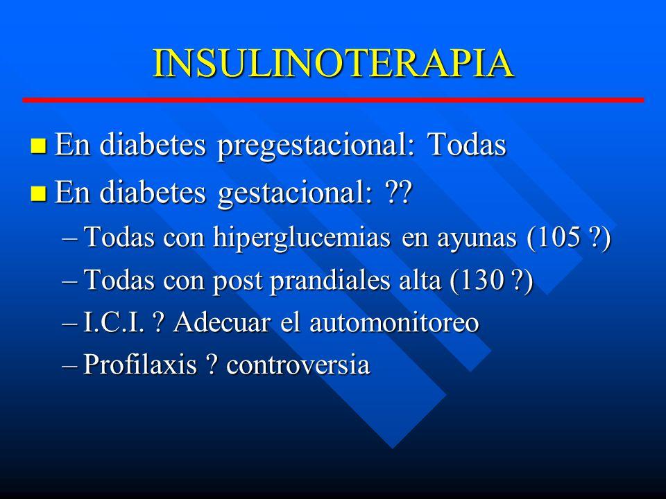 INSULINOTERAPIA En diabetes pregestacional: Todas