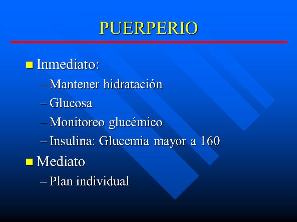 PUERPERIO Inmediato: Mediato Mantener hidratación Glucosa