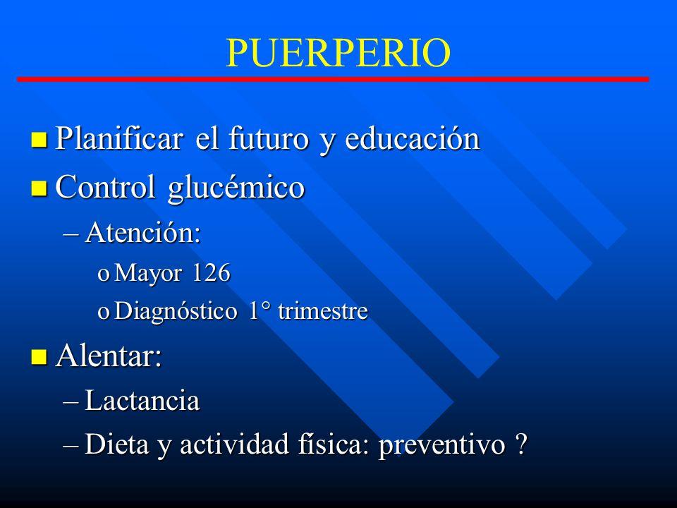 PUERPERIO Planificar el futuro y educación Control glucémico Alentar: