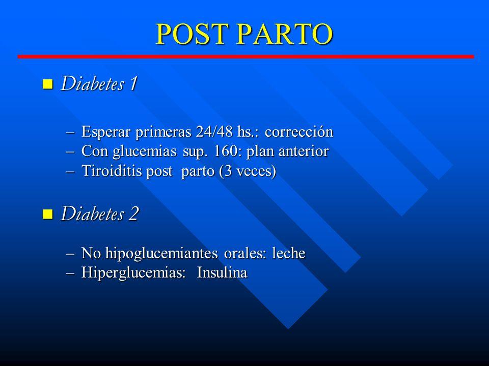 POST PARTO Diabetes 1 Diabetes 2