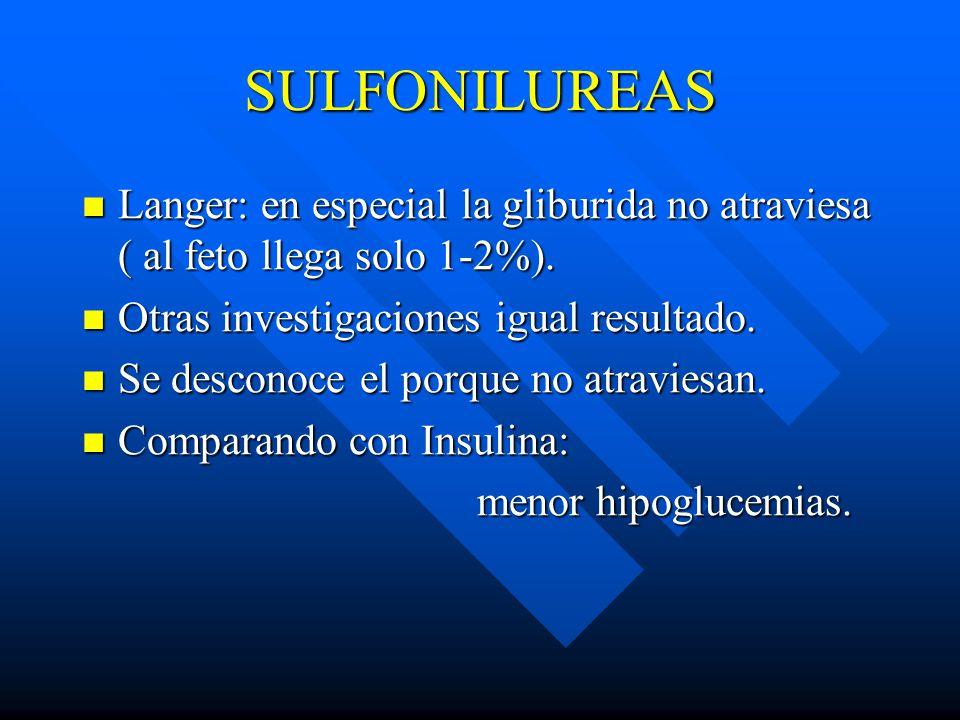 SULFONILUREAS Langer: en especial la gliburida no atraviesa ( al feto llega solo 1-2%). Otras investigaciones igual resultado.