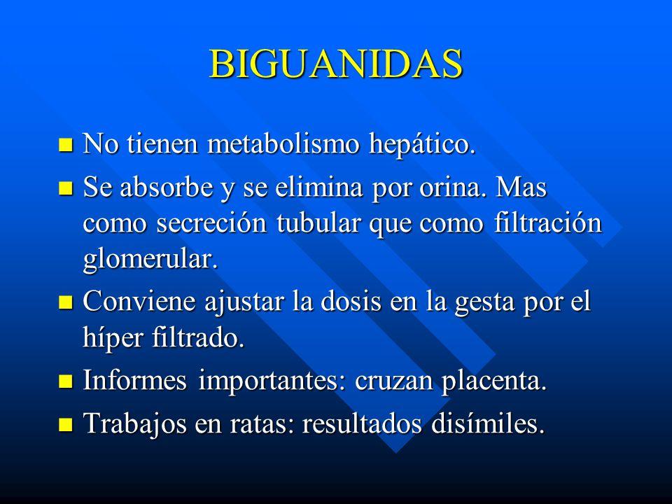 BIGUANIDAS No tienen metabolismo hepático.