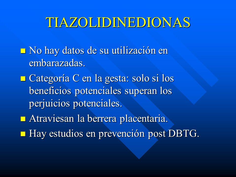 TIAZOLIDINEDIONAS No hay datos de su utilización en embarazadas.