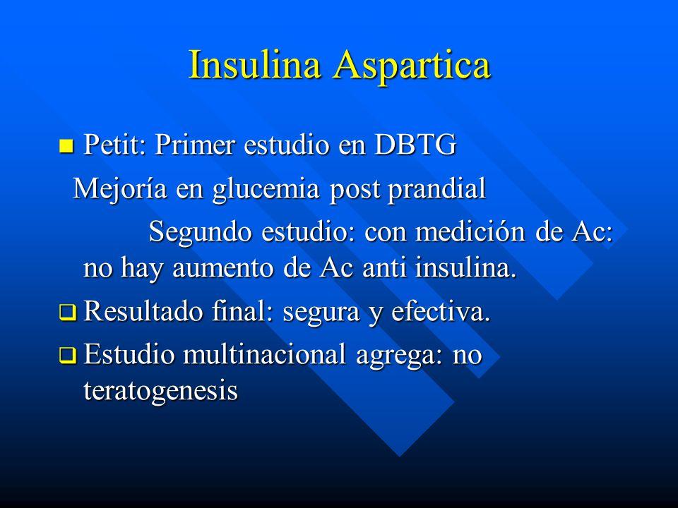 Insulina Aspartica Petit: Primer estudio en DBTG