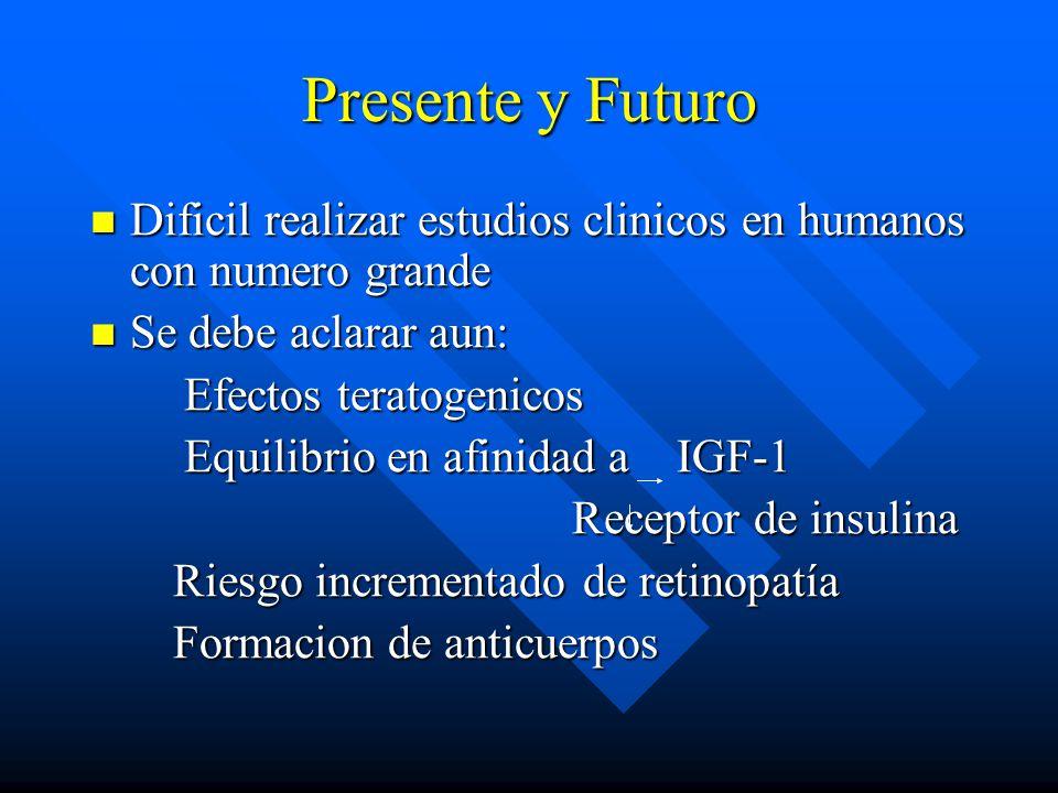 Presente y Futuro Dificil realizar estudios clinicos en humanos con numero grande. Se debe aclarar aun:
