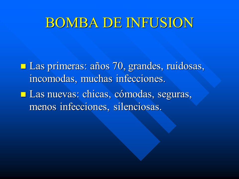 BOMBA DE INFUSION Las primeras: años 70, grandes, ruidosas, incomodas, muchas infecciones.