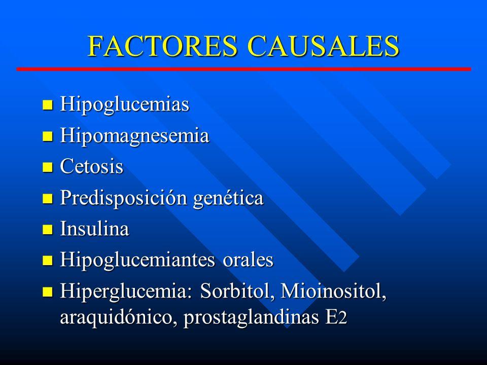 FACTORES CAUSALES Hipoglucemias Hipomagnesemia Cetosis