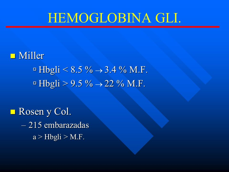 HEMOGLOBINA GLI. Miller Rosen y Col. Hbgli < 8.5 % ® 3.4 % M.F.