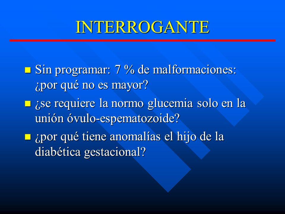 INTERROGANTE Sin programar: 7 % de malformaciones: ¿por qué no es mayor ¿se requiere la normo glucemia solo en la unión óvulo-espematozoide