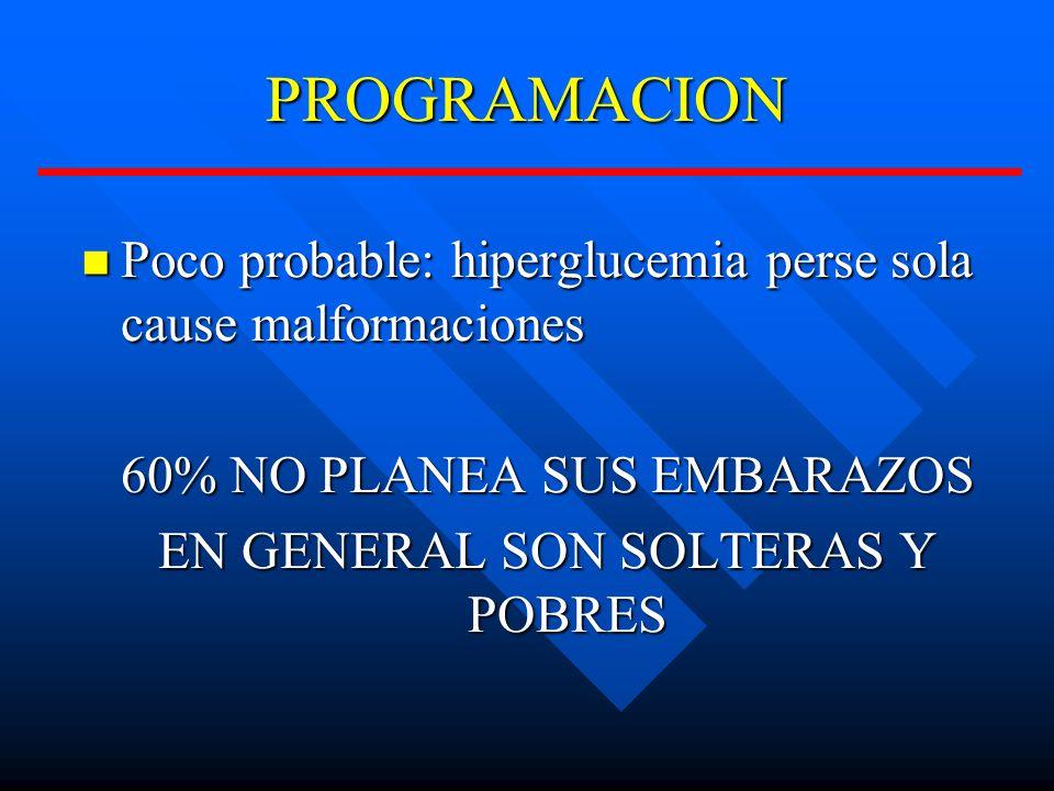 PROGRAMACION Poco probable: hiperglucemia perse sola cause malformaciones. 60% NO PLANEA SUS EMBARAZOS.