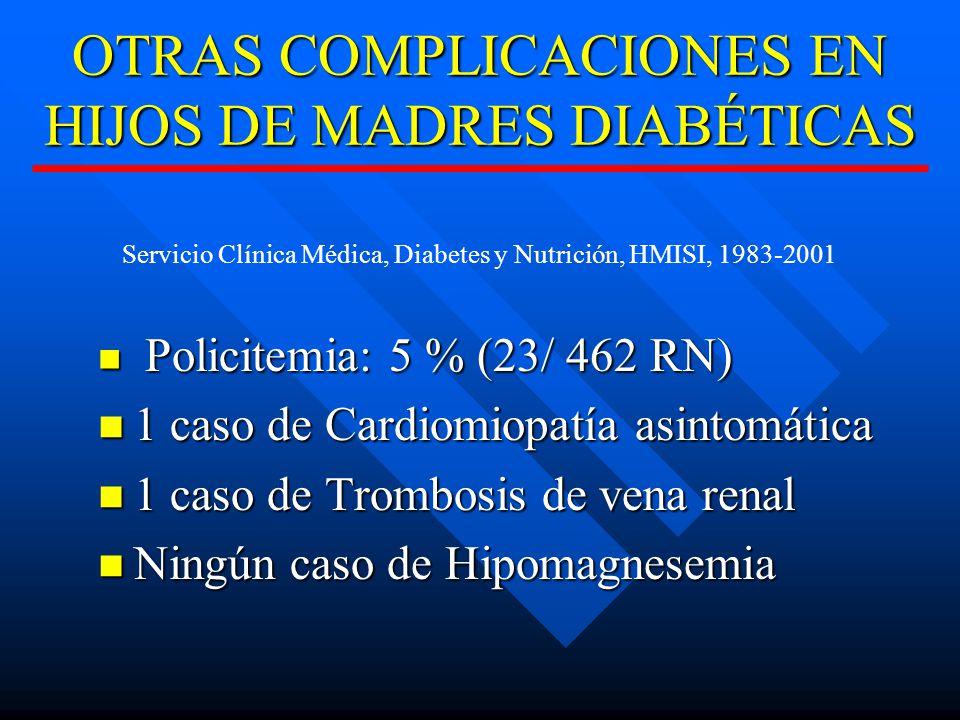 OTRAS COMPLICACIONES EN HIJOS DE MADRES DIABÉTICAS