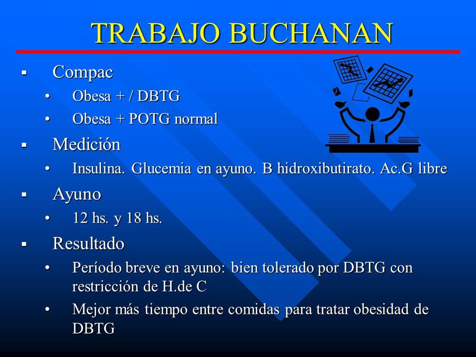 TRABAJO BUCHANAN Compac Medición Ayuno Resultado Obesa + / DBTG