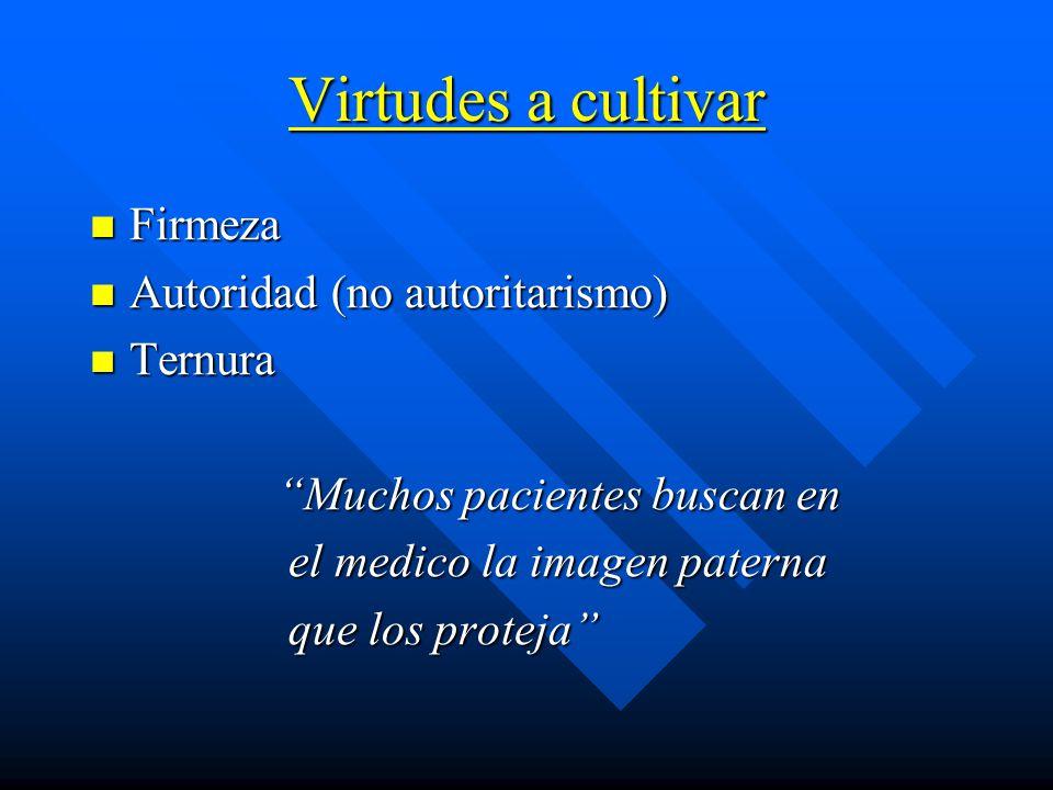 Virtudes a cultivar Firmeza Autoridad (no autoritarismo) Ternura