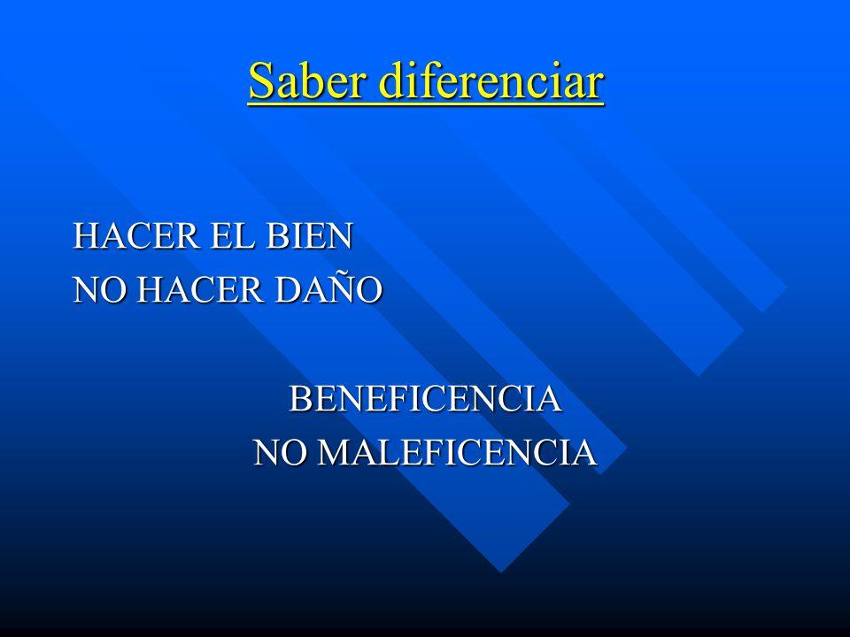Saber diferenciar HACER EL BIEN NO HACER DAÑO BENEFICENCIA