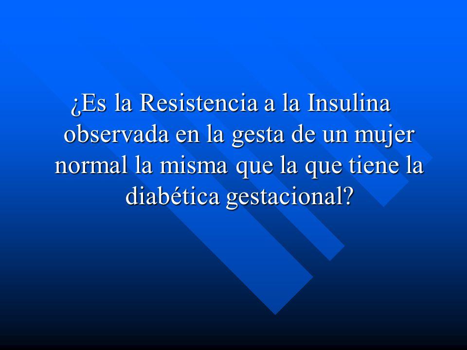 ¿Es la Resistencia a la Insulina observada en la gesta de un mujer normal la misma que la que tiene la diabética gestacional
