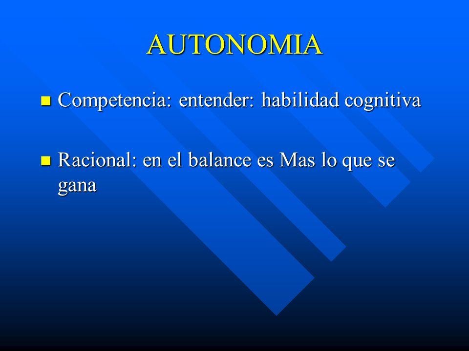 AUTONOMIA Competencia: entender: habilidad cognitiva