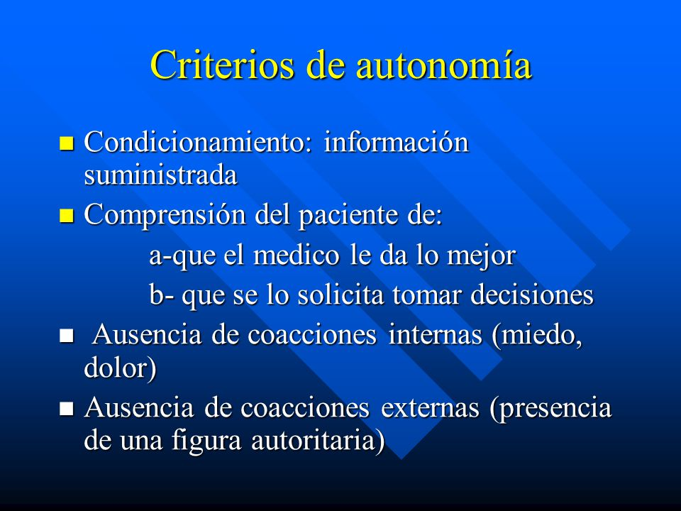 Criterios de autonomía
