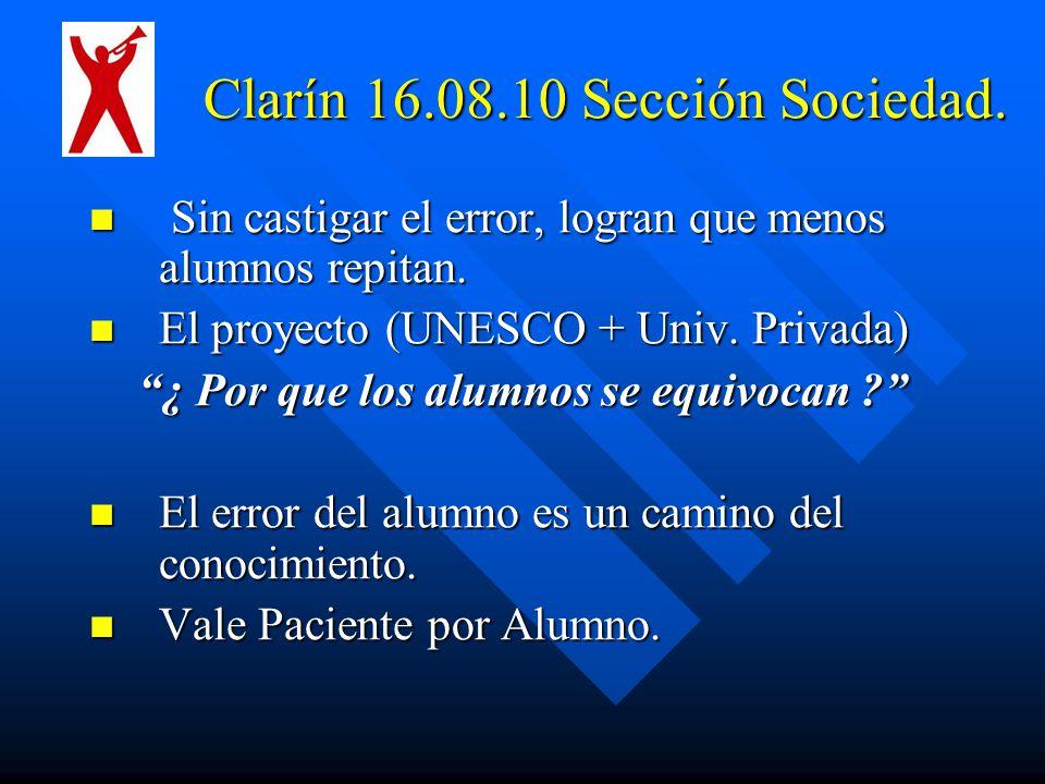 Clarín 16.08.10 Sección Sociedad.
