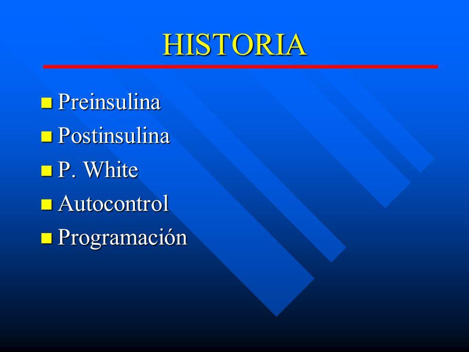 HISTORIA Preinsulina Postinsulina P. White Autocontrol Programación