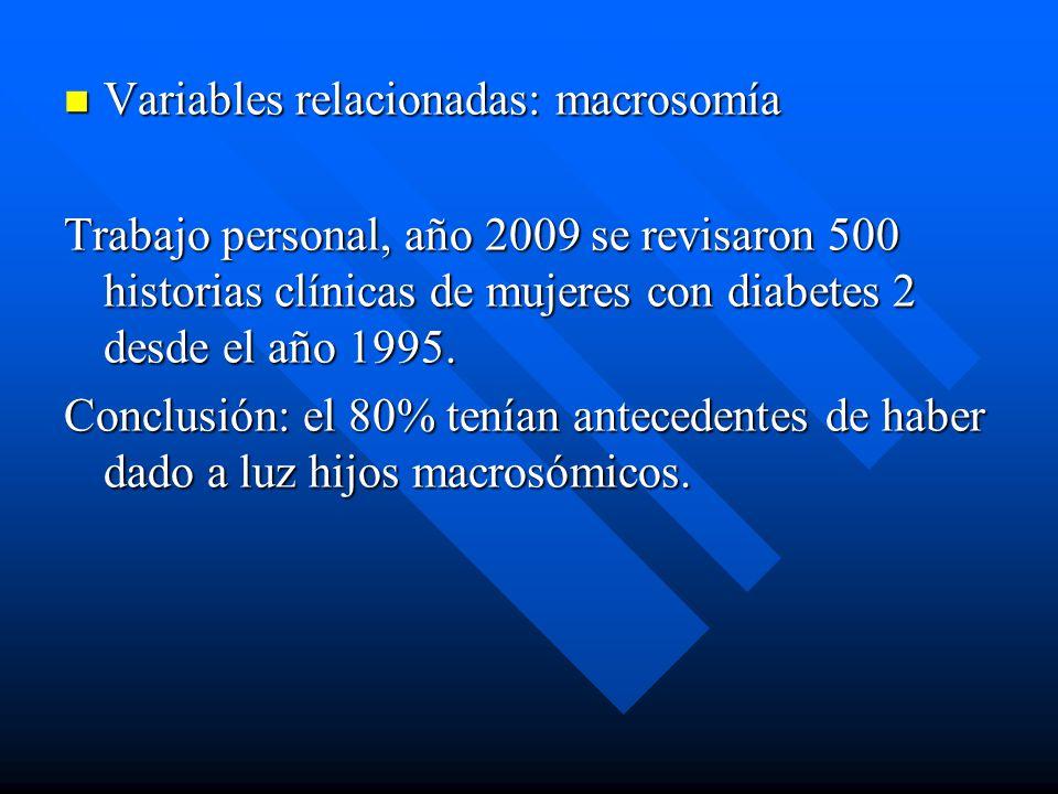 Variables relacionadas: macrosomía