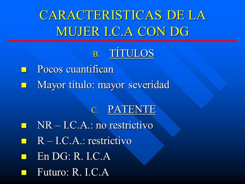 CARACTERISTICAS DE LA MUJER I.C.A CON DG