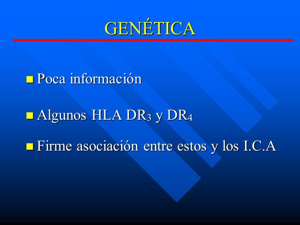 GENÉTICA Poca información Algunos HLA DR3 y DR4