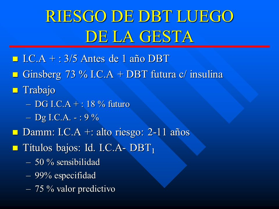 RIESGO DE DBT LUEGO DE LA GESTA
