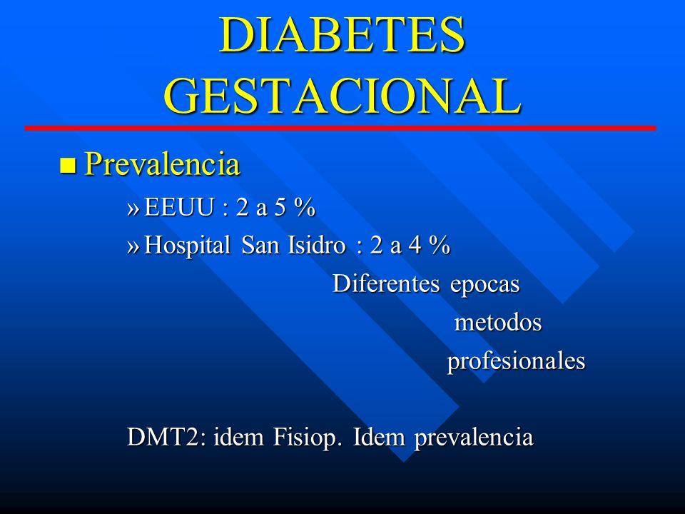 DIABETES GESTACIONAL Prevalencia EEUU : 2 a 5 %