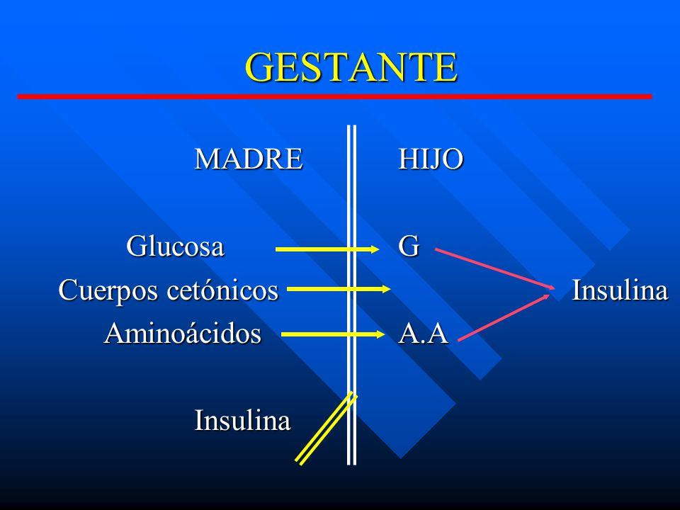 GESTANTE MADRE HIJO Glucosa G Cuerpos cetónicos Insulina