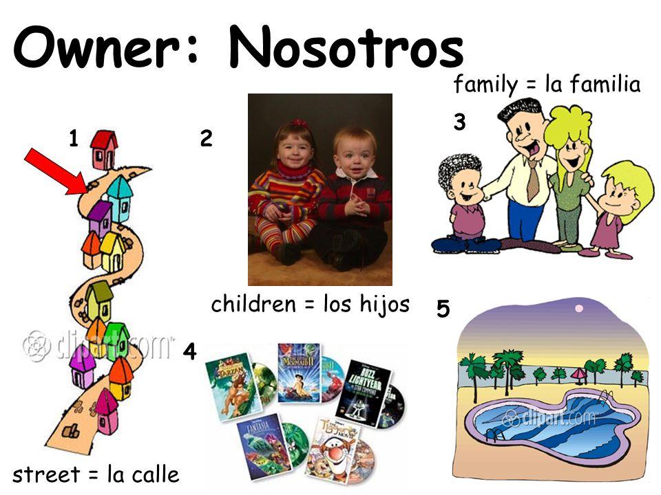 Owner: Nosotros family = la familia 3 1 2 children = los hijos 5 4