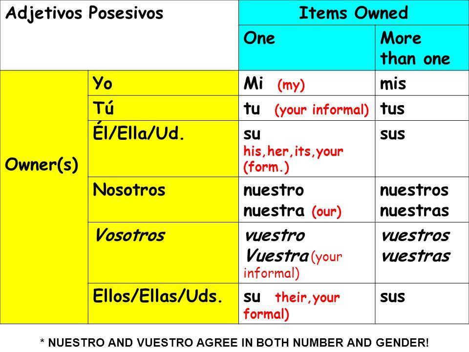 Vuestra (your informal) vuestros vuestras Ellos/Ellas/Uds.
