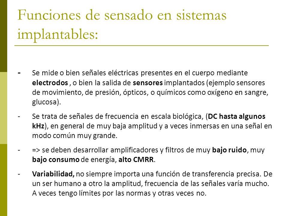 Funciones de sensado en sistemas implantables:
