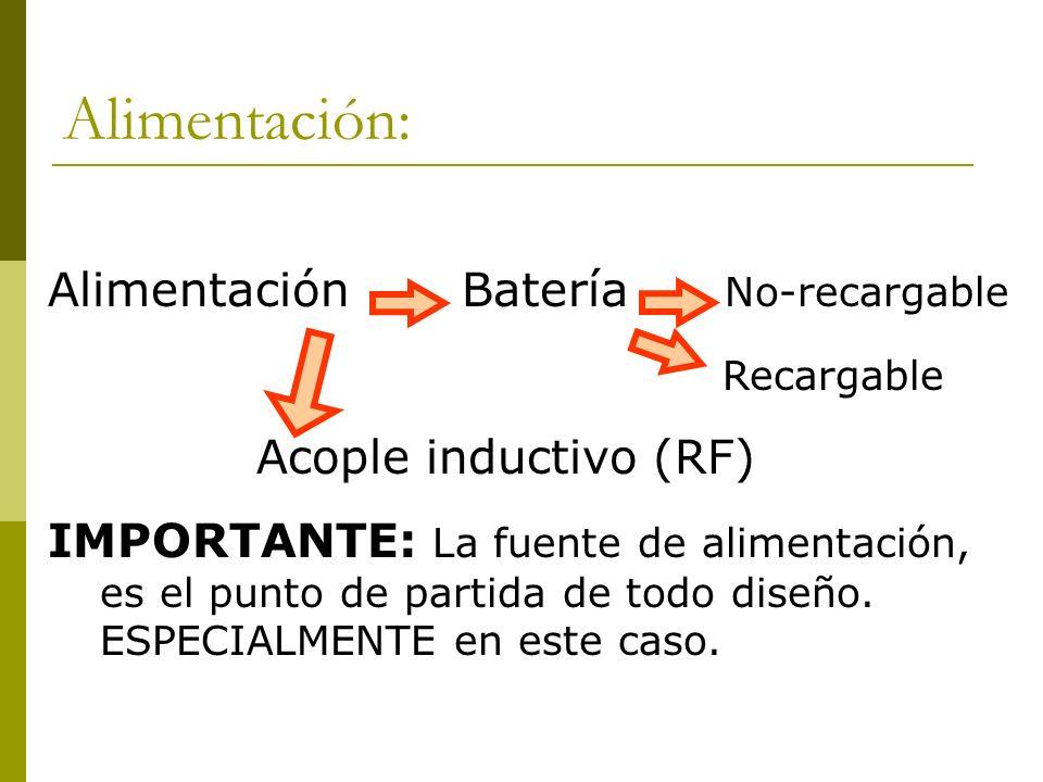Alimentación: Alimentación Batería No-recargable Recargable