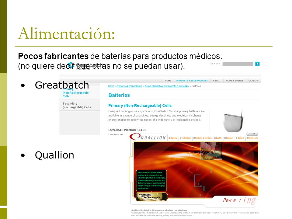 Alimentación: Greatbatch Quallion