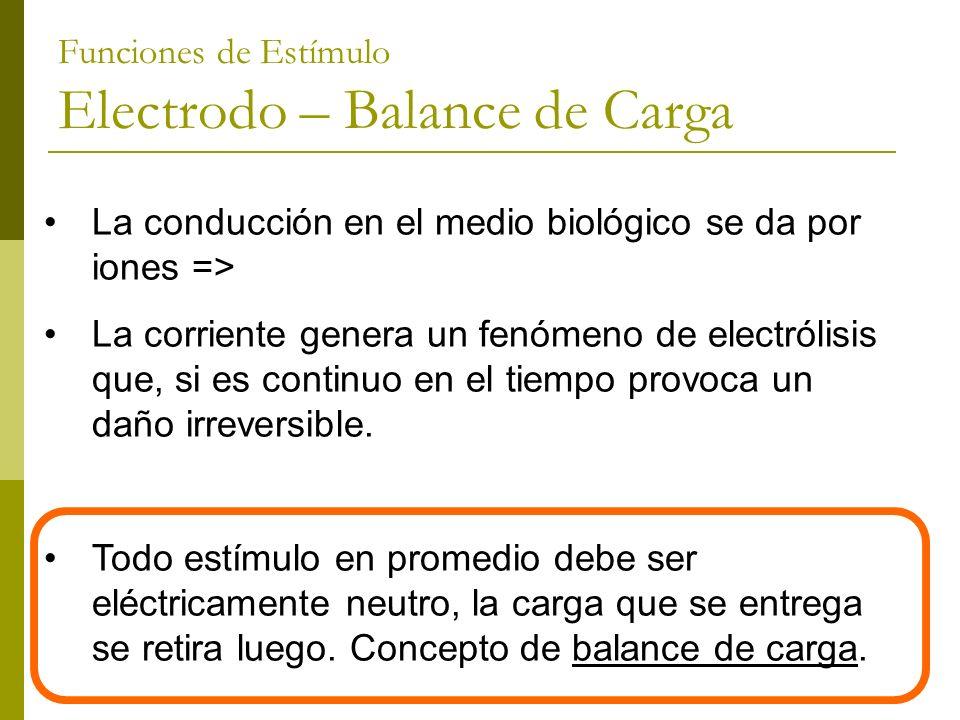 Funciones de Estímulo Electrodo – Balance de Carga