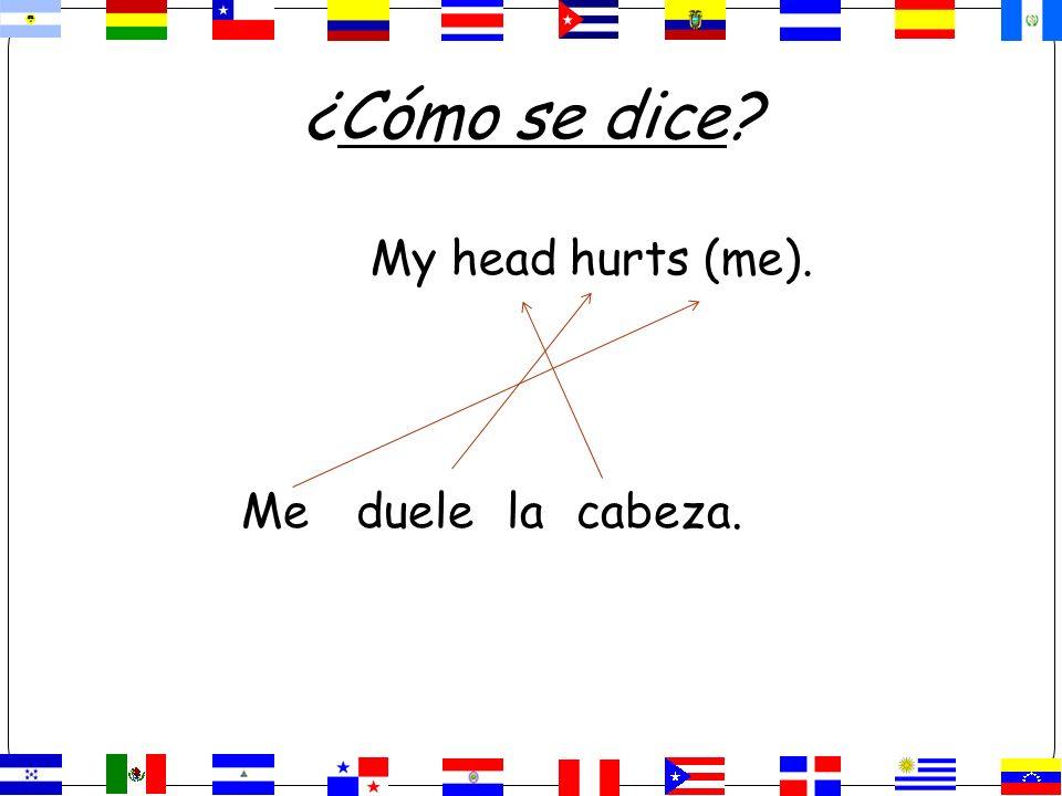 ¿Cómo se dice My head hurts (me). Me duele la cabeza.