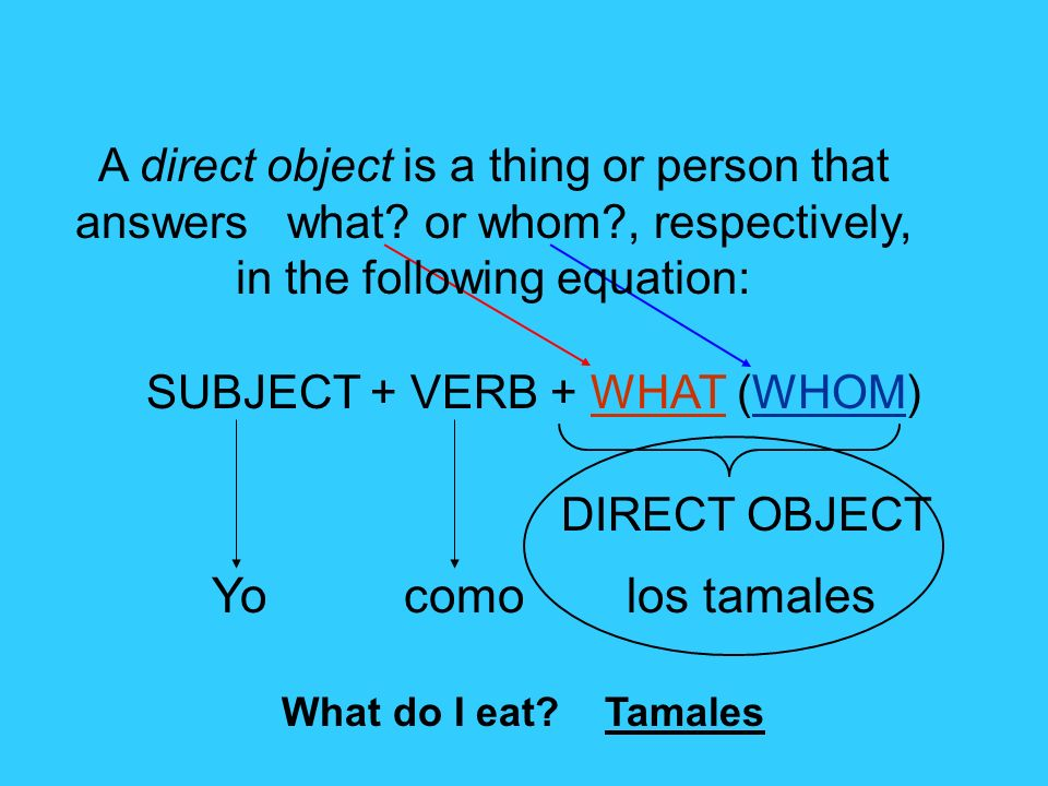 A direct object is a thing or person that answers what. or whom