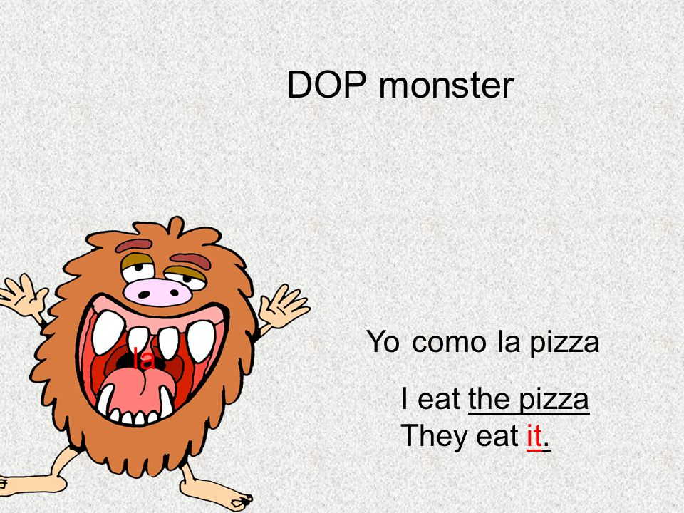 DOP monster Yo como la pizza la I eat the pizza They eat it.